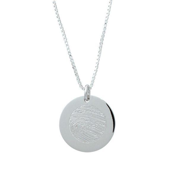 Silver circle fingerprint pendant memorial keepsake jewellery silver circle fingerprint pendant mozeypictures Image collections