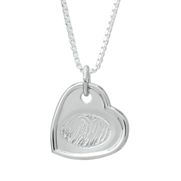 Silver indented heart fingerprint pendant memorial keepsake silver indented heart fingerprint pendant mozeypictures Image collections