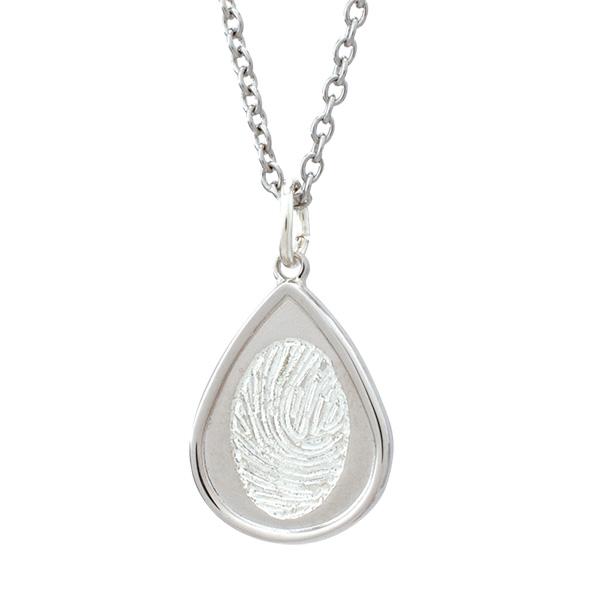 Silver indented teardrop fingerprint pendant memorial keepsake silver indented teardrop fingerprint pendant mozeypictures Image collections