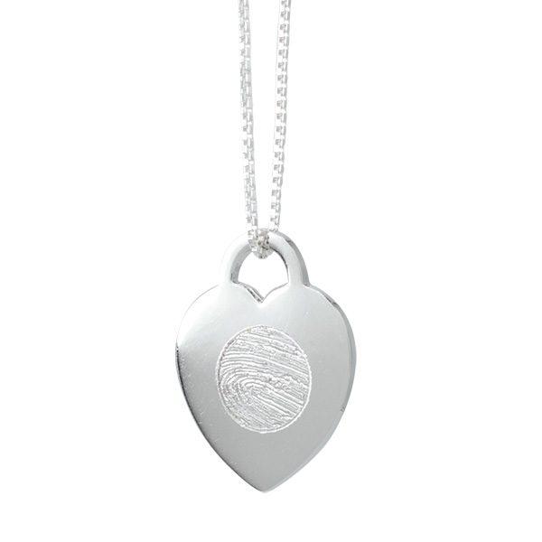 Silver locked heart fingerprint pendant memorial keepsake jewellery silver locked heart fingerprint pendant mozeypictures Image collections